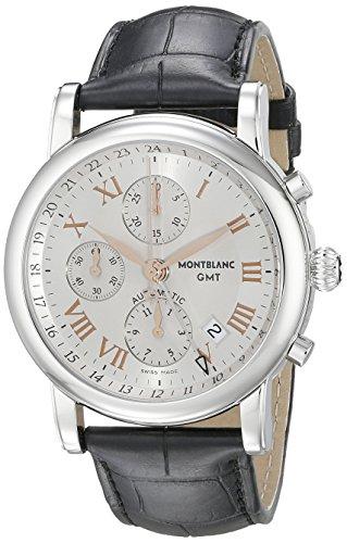 MontBlanc Star Chronograph GMT HERREN SCHWARZ Lederband Schweizer Automatik Uhr 36967