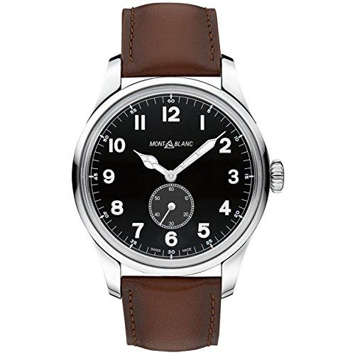 Montblanc 1858 Herren Armbanduhr 47mm Armband Leder Braun Gehaeuse Edelstahl Saphirglas Automatik 115073