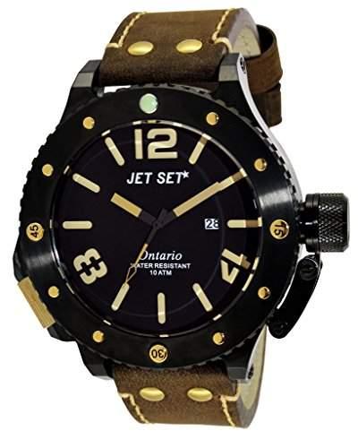 Jet Set-j3610b-766-Ontario-Armbanduhr-Quarz Analog-Zifferblatt schwarz Armband Leder braun