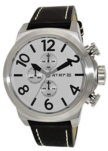 Jet Set-j66603-667-New York-Armbanduhr-Quarz Chronograph-Zifferblatt Silber-Armband Leder Schwarz