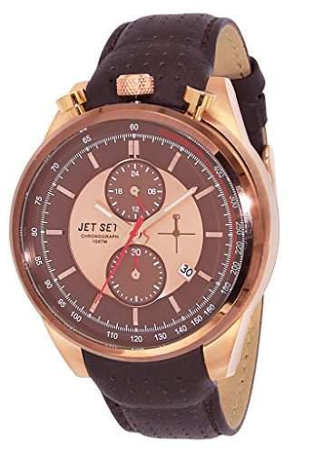 Jet Set-j1186r-736-Turin-Armbanduhr-Quarz Chronograph-Zifferblatt braun Armband Leder braun
