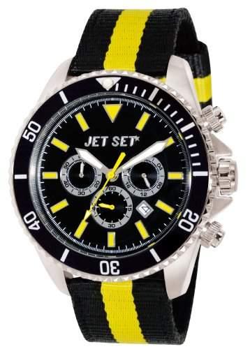 Jet Set-J21203-20-Speedway-Armbanduhr-Quarz Chronograph-Zifferblatt schwarz Armband Stoff schwarz