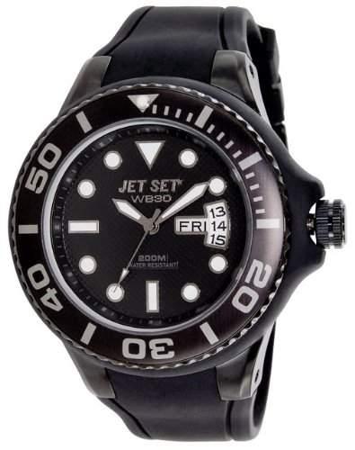Jet Set-j5522b-23-Wb30Diver-Armbanduhr-Quarz Analog-Zifferblatt schwarz Armband Kautschuk schwarz