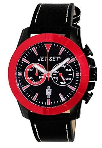Jet Set-j6339b-837-Vienna-Armbanduhr-Quarz Chronograph-Schwarzes Ziffernblatt-Armband Leder Schwarz