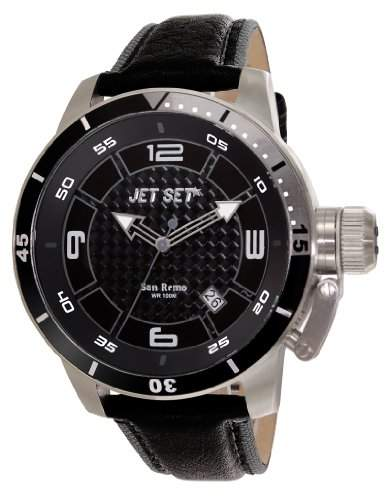 Jet Set Herren-Armbanduhr San Remo Analog Quarz Leder J90101-230