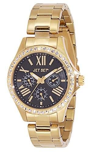 Jet Set-j59828-222-Like Damen-Armbanduhr-Quarz Analog-Zifferblatt schwarz Armband Stahl Gold