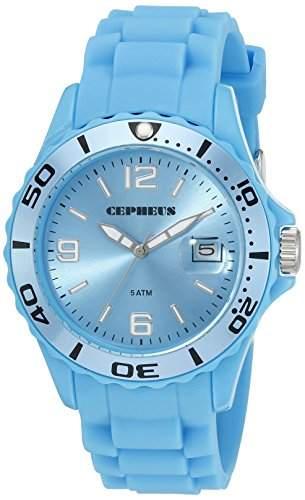 CEPHEUS Herren-Armbanduhr XL Analog Quarz Silikon CP603-090D-1
