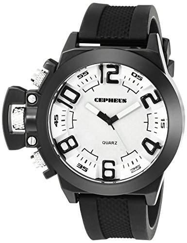 CEPHEUS Herren-Armbanduhr XL Analog Quarz Silikon CP901-682