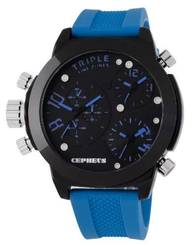CEPHEUS Herren-Armbanduhr XL Analog Quarz Silikon CP902-623