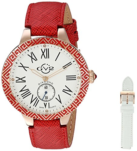 GV2 by Gevril Damen 9121 Astor Emaille Armbanduhr Analog Display rot Quarz