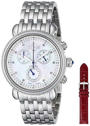 GV2 by Gevril Damen 9801 Marsala Analog Display Swiss Quartz Silber Uhr Set