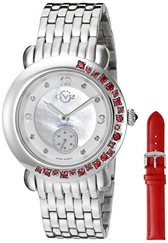 GV2 by Gevril Damen 9890 Marsala Edelstein Analog Display Swiss Quartz Silber Uhr