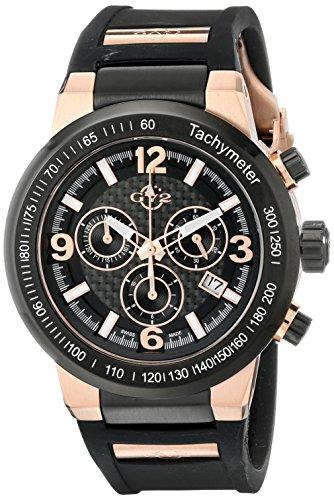 GV2 by Gevril Herren 8200 Novara Analog Display Swiss Quartz Black Watch