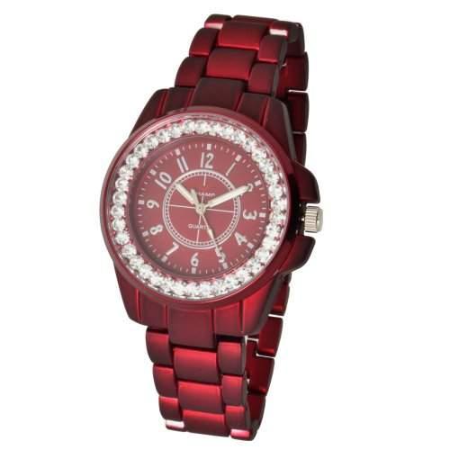 Champ Damen Quarz Armbanduhr Metallic-Rot pulverbeschichtet Modell 87295523