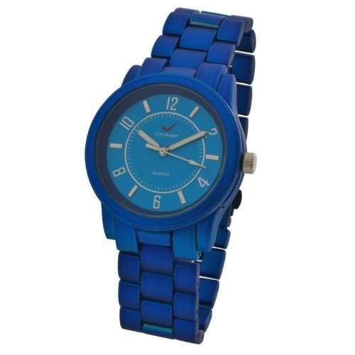 Champ Damen Quarz Armbanduhr Metallic-Blau pulverbeschichtet Modell 87315834