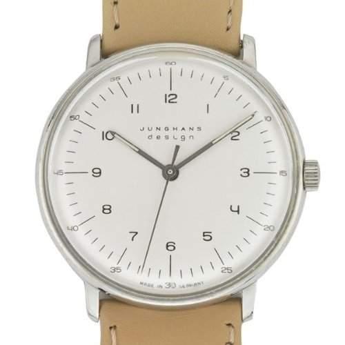 Armbanduhr Max Bill, mechan Werk!|mit Zahlenblatt weiss, Armband beige A