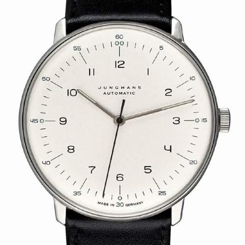 Armbanduhr Max Bill Automatik|mit Zahlenblatt weiss, Armband schwarz A