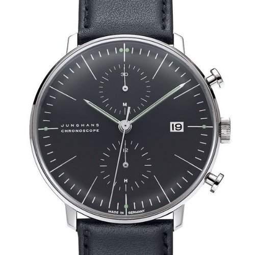 Armbanduhr Max Bill Chronoscope|mit Strichblatt schwarz, Armband schwarz A