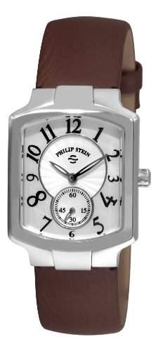Philip Stein Damen 27mm Braun Leder Armband Edelstahl Gehaeuse Uhr 21FMOPCBR