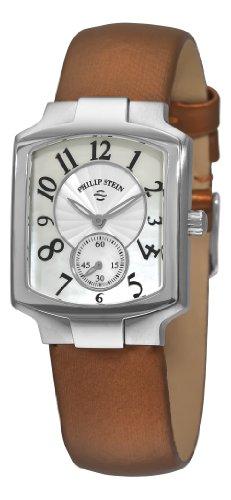 Philip Stein Damen 10mm Braun Satin Armband Edelstahl Gehaeuse Uhr 21FMOPIBZ