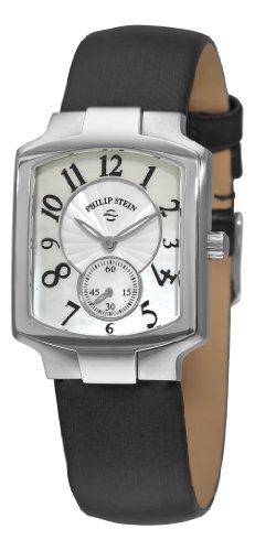 Philip Stein Damen 10mm Schwarz Satin Armband Edelstahl Gehaeuse Uhr 21FMOPIB