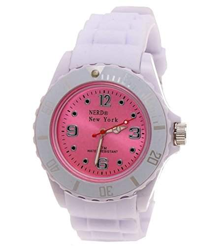Nerd New York Silikonarmbanduhr in Weiss Pink