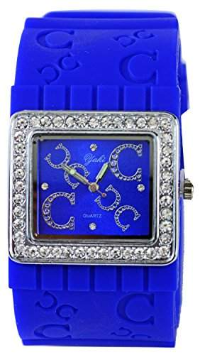 Stylische Designer Strass Damenuhr Farbe Royal Blau