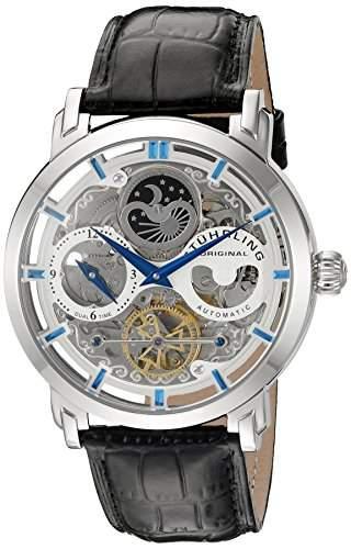 Stuhrling Anatol Herren 47mm Automatikwerk Schwarz Leder Armband Uhr 37101