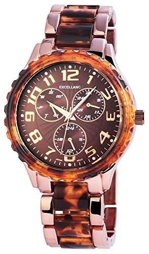 Excellanc Damenuhr mit Metallarmband Braun Armbanduhr Uhr 152857000019