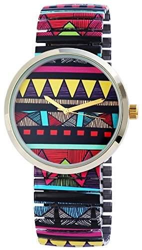 Exclusive Excellanc Damenuhr Armbanduhr mit Metallzugband Analog Retro Goldfarben