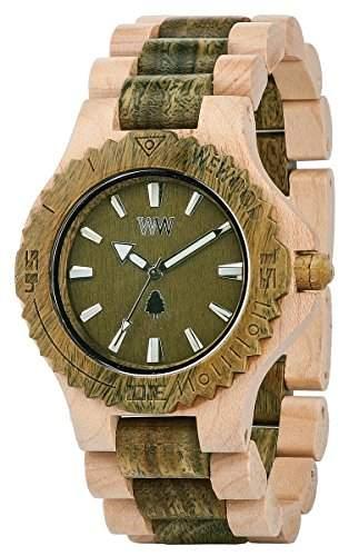 Wewood Herren-Armbanduhr Date Analog Quarz One Size, gruen, beigegruen