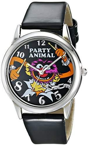 Muppets Damen MU1007 Animal Black Dial Black Strap Armbanduhr