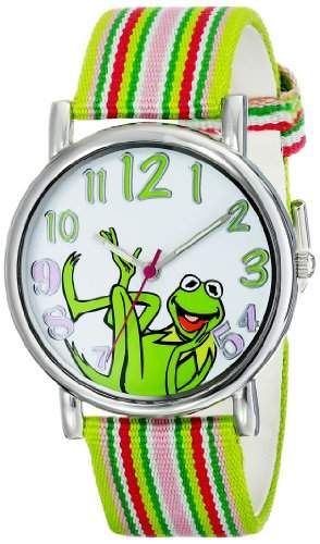 Muppets Damen MU1010 Kermit the Frog Dial Multi-colored Stripe Grosgrain Strap Armbanduhr
