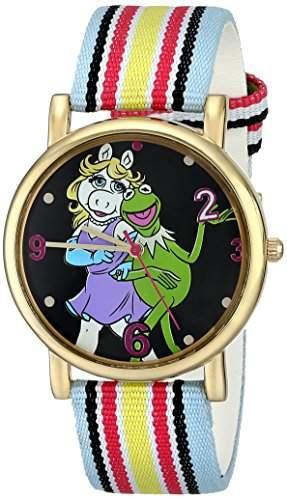 Muppets Damen MU1011 Kermit and Miss Piggy Dial Multi-colored Stripe Grosgrain Strap Armbanduhr