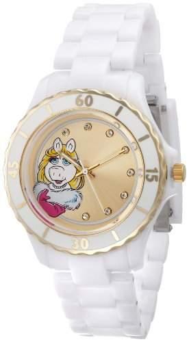 Muppets Damen MU2050 Miss Piggy Gold Sunray Dial White Plastic Bracelet Armbanduhr