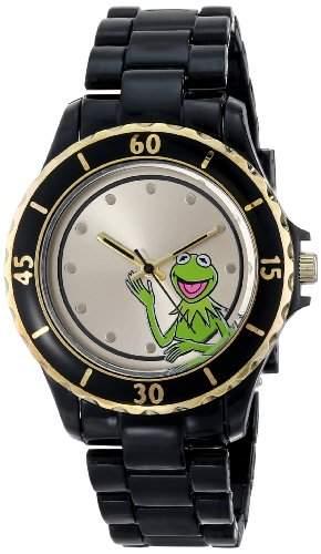 Muppets Damen MU2052 Kermit Gold Sunray Dial Black Plastic Bracelet Armbanduhr