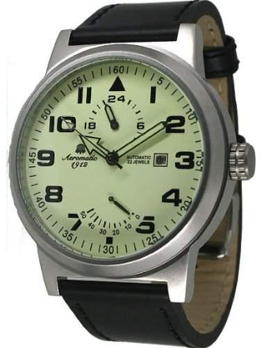 """Automatik Uhr mit luminous Ziffernblatt """"Power Reserve und 24h Anzeige"""" Modell A1350"""