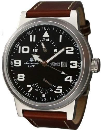 Automatik Uhr mit Power Reserve und 24h Anzeige im Fliegerstil Modell A1352