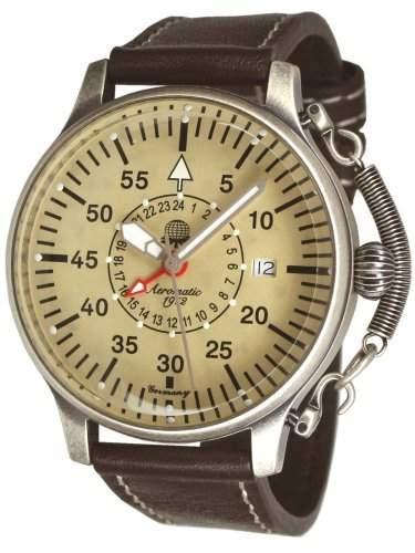 Retro Uhr mit 24h GMT Zeitanzeige von Aeromatic 1912 - A1407