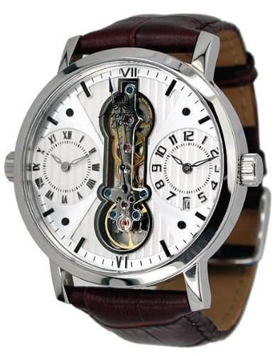 """Classic-Uhr mit 3 Laufwerken """"Dualtimer"""" und Einsicht in das Mechanikwerk"""