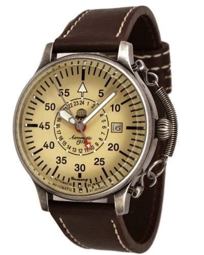 Retro Uhr mit Automatik Werk 24h Anzeige Spez Feder-Kronensicherung Modell A1382