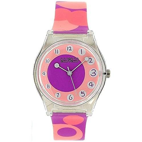 WIW WW12 modische Damenarmbanduhr analog, Wirbelmuster in lila und pink, PU-Armband