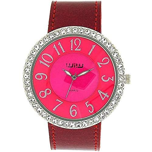 WIW WW161 Damenarmbanduhr analog Shocking Pink Luenette mit Glitzersteinen