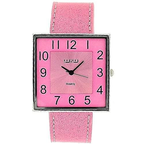 WIW WW25 modische Damenarmbanduhr analog, quadr Ziffernblatt und PU-Glitzerarmband in Baby-pink