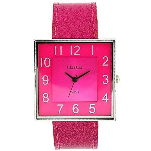 WIW WW25 modische Damenarmbanduhr analog-quadratisches Shocking Pink Ziffernblatt und Glitzerarmband
