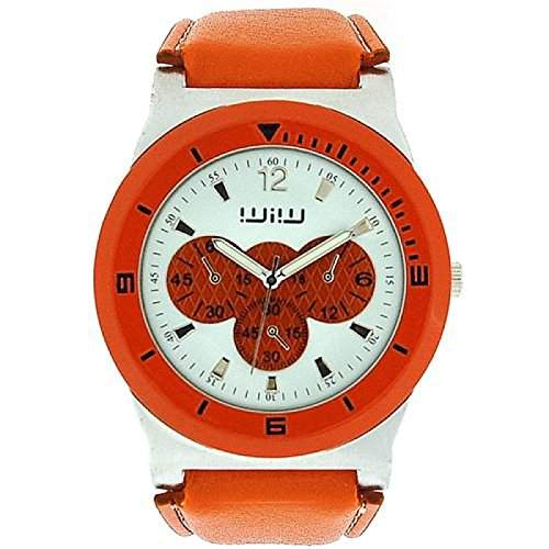 WIW WW57 modische Unisex-Armbanduhr analog, Chrono-Effekt, orange, PU-Armband
