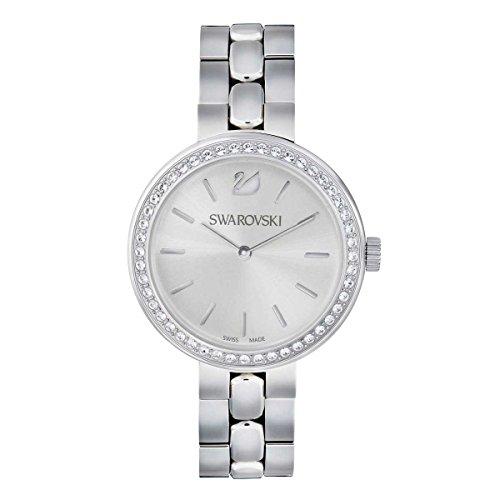 Swarovski Kristall tagsueber Silber Zifferblatt Stahl Link Armband Armbanduhr