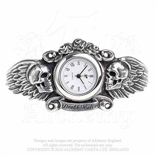 Alchemy Gothic England Heart of Lazarus Gothic Dark Angel gefluegelten Totenkopf Armband Armbanduhr