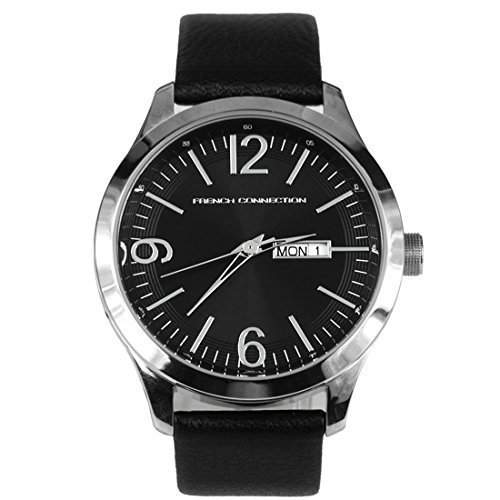 French Connection Mens Black Dial Leather Strap Watch - FC1090BB
