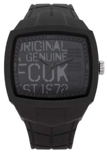 FCUK Unisex-Armbanduhr Analog Silikon Schwarz FC1129B